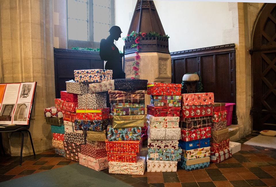 Shoeboxes collected for the 2018 Christmas Shoebox Appel