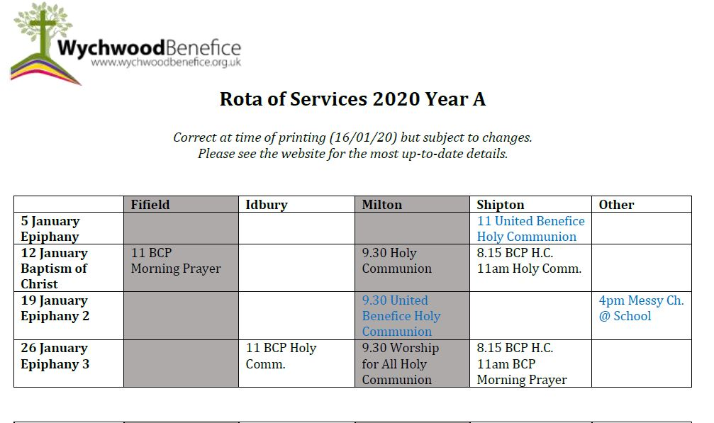Rota of Services 2020
