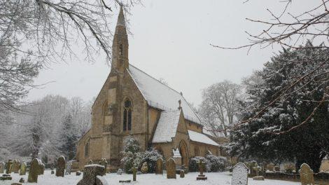 Milton church in snow