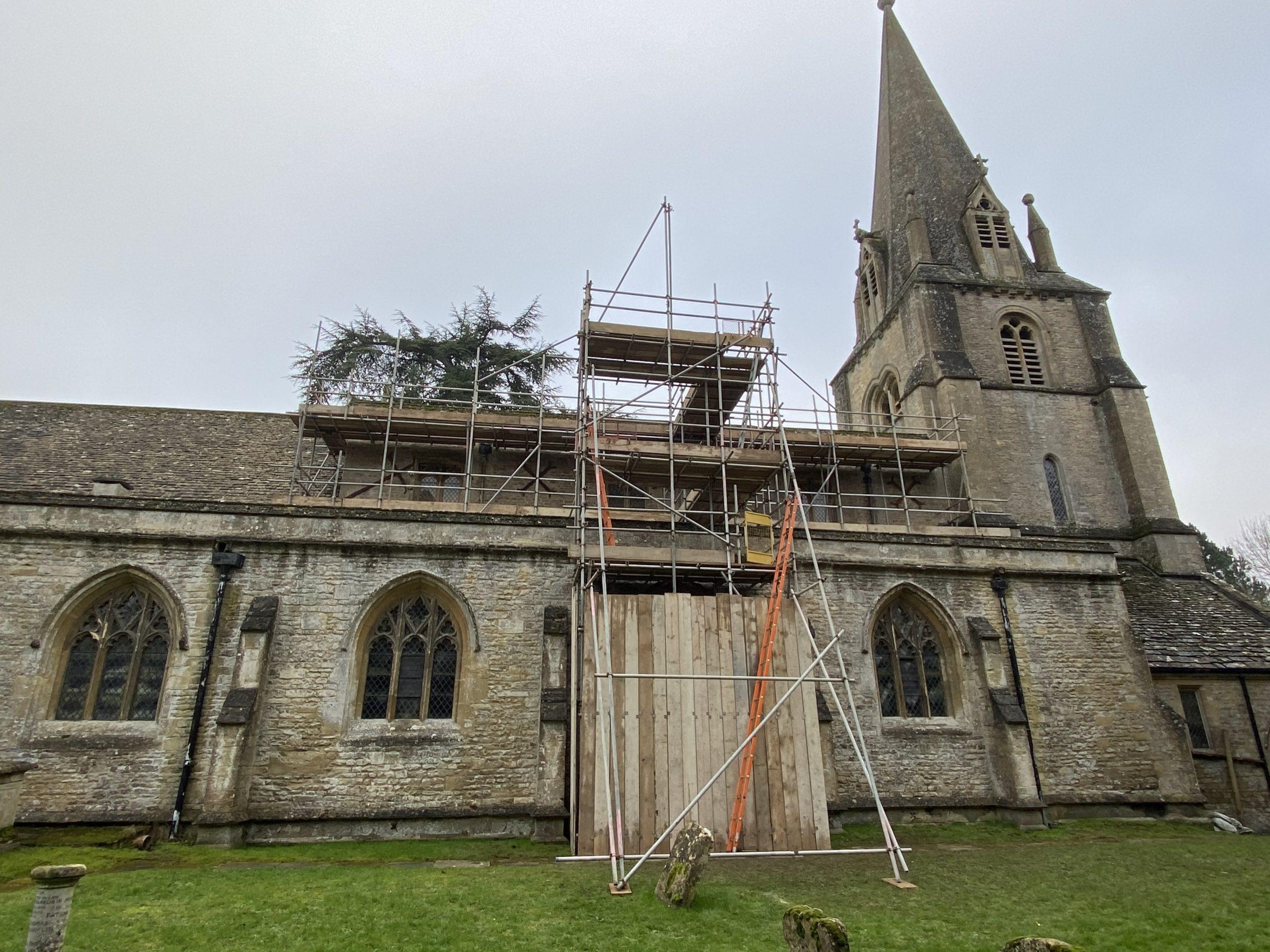 Shipton church with scaffolding