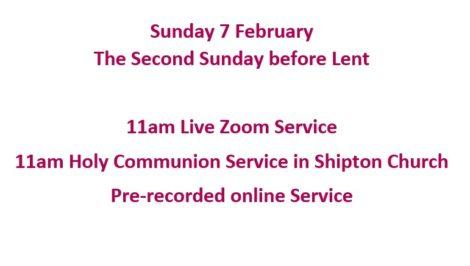 Sunday 7 February services
